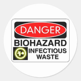 Biohazard Infectious Waste Classic Round Sticker