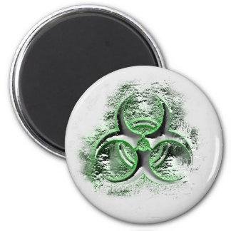 Biohazard sign symbol glowing quicksilver magnet