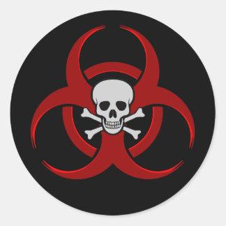 Biohazard Skull Classic Round Sticker
