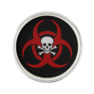 Biohazard Skull Lapel Pin
