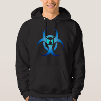 Biohazard Symbol Zombie blue on black Hoodie