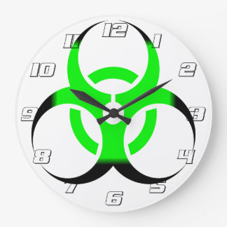 Biohazard Symbol Zombie Green and Black #s Large Clock