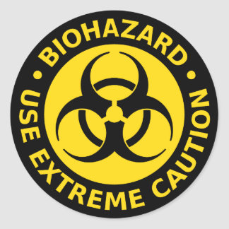 Biohazard - Use Extreme Caution Round Sticker
