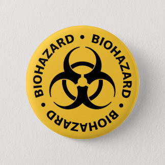 Biohazard Warning 2 Inch Round Button