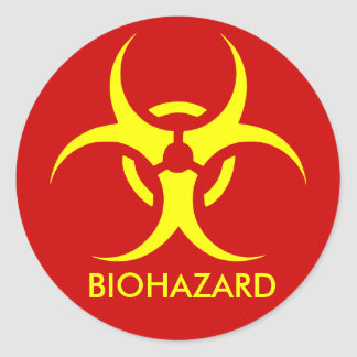 biohazard ! warning danger classic round sticker