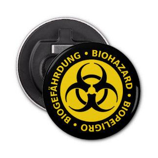 Biohazard Warning Sign Button Bottle Opener