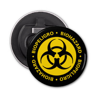 Biohazard Warning Sign Button Bottle Opener