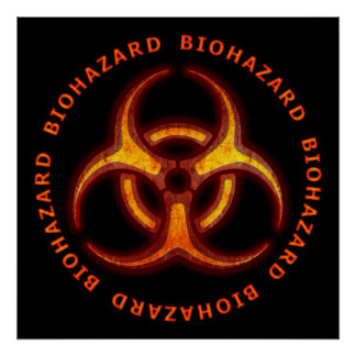 Biohazard Zombie Warning Poster