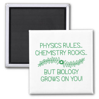 Biology Grows On You Square Magnet