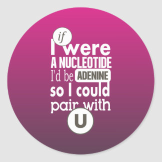 Biology nucleotide adenine pair with uracil U Classic Round Sticker