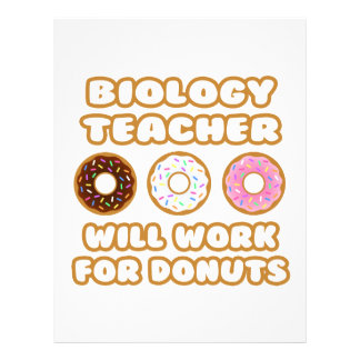 Biology Teacher Will Work For Donuts Letterhead Template