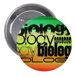 Biology; Vibrant Green, Orange, & Yellow 3 Inch Round Button
