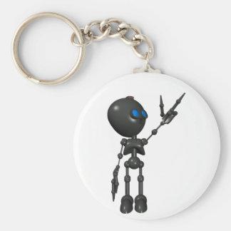 Bionic Boy 3D Robot - Finger Guns 2 - Original Basic Round Button Keychain
