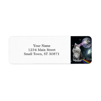 Bioworld Laser Eyes Space Cat Return Address Label