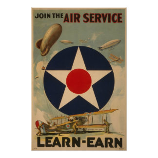 Biplane Airplane Blimp Air Service WWI Poster