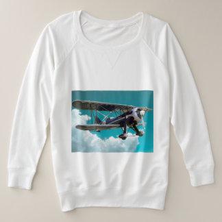 Biplane airplane plus size sweatshirt