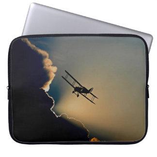 Biplane and sunset laptop sleeve