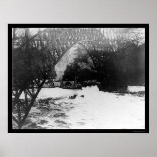 Biplane Daredevil under Niagara River Bridge 1911 Poster