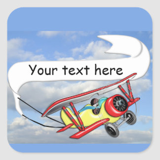 Biplane Towing Banner Customizable Square Sticker