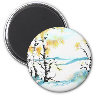 Birch and bunny 2 inch round magnet