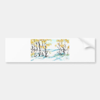 Birch and bunny bumper sticker