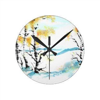 Birch and bunny clocks