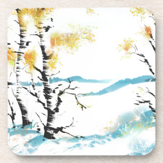 Birch and bunny drink coasters