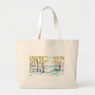 Birch and bunny large tote bag