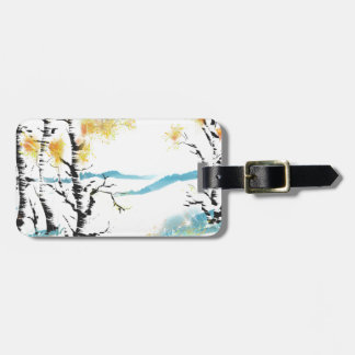 Birch and bunny luggage tag