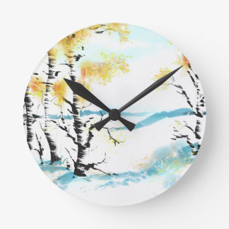 Birch and bunny round clock