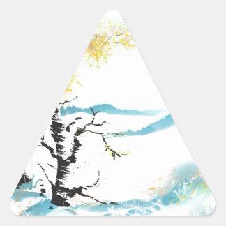 Birch and bunny triangle sticker
