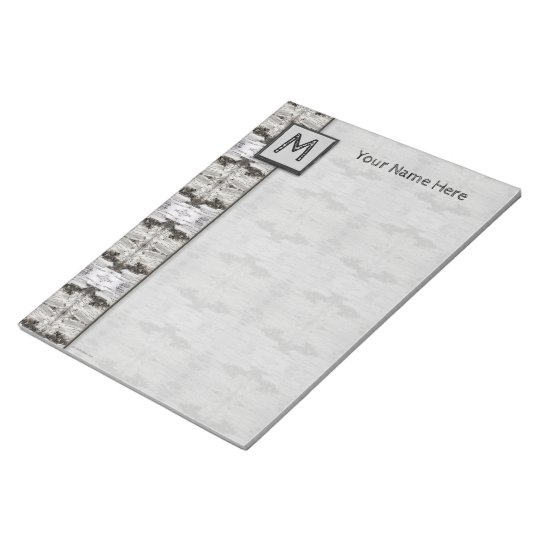Birch Bark Black White Wood Design Notepad