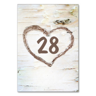 Birch Bark Carved Heart Rustic Wedding Card