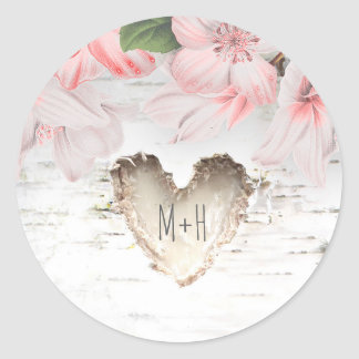 Birch Bark Heart and Pink Flowers Rustic Wedding Classic Round Sticker