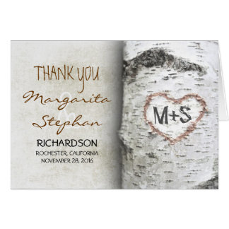 Birch Bark Heart - Rustic Tree Wedding Thank You Card