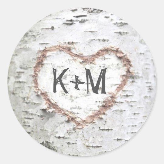 Birch Bark Heart Rustic Wedding Classic Round Sticker