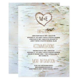 Birch Bark Heart Rustic Wedding Information Card