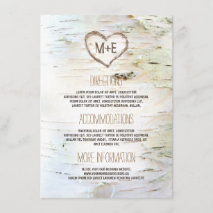 Birch Bark Heart Rustic Wedding Information Enclosure Card