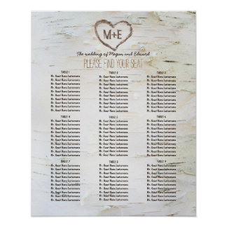 Birch Bark Heart Rustic Wedding Seating Chart