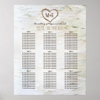 Birch Bark Heart Rustic Wedding Seating Chart Poster