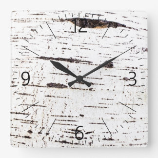 Birch bark pattern square wall clock