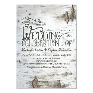birch bark rustic country wedding invitation