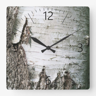 Birch bark square wall clock