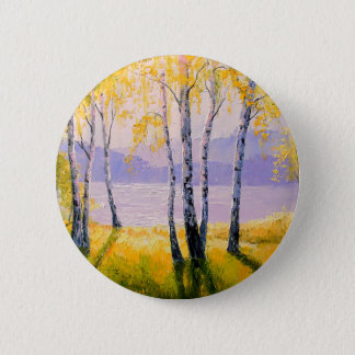 Birch by the river 2 inch round button
