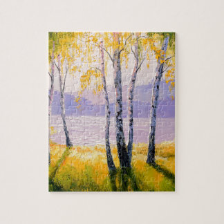 Birch by the river jigsaw puzzle