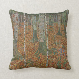 Birch Forest and Beech Forest by Gustav Klimt Throw Pillow