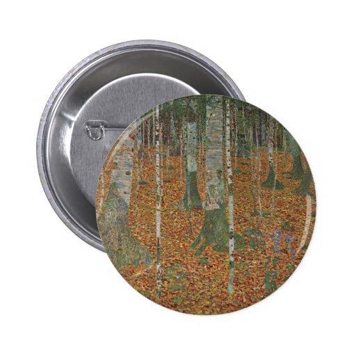 Birch Forest by Gustav Klimt, Vintage Art Nouveau Pinback Buttons