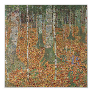 "Birch Forest by Gustav Klimt, Vintage Art Nouveau 5.25"" Square Invitation Card"