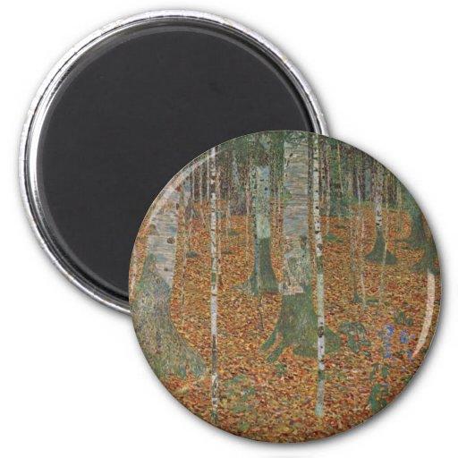 Birch Forest by Gustav Klimt, Vintage Art Nouveau Fridge Magnet