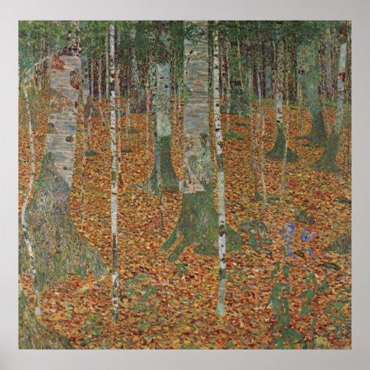 Birch Forest by Gustav Klimt, Vintage Art Nouveau Poster